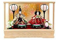 雛人形 コンパクト ひな人形 雛 ケース飾り 親王飾り 藤翁作 みゆき 豆親王 白 金襴仕立 オルゴール付 h023-fn-163-208