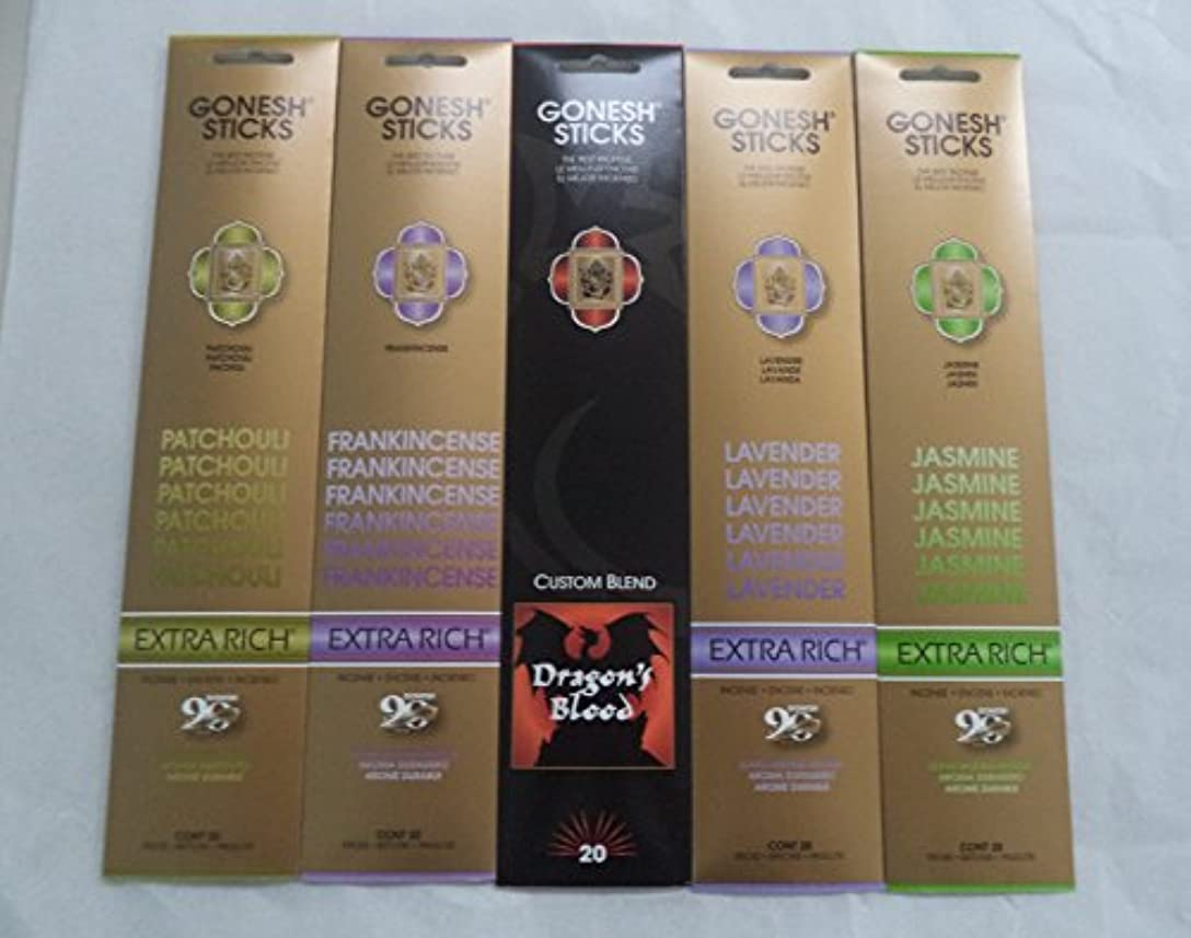 にんじんくびれた遠えGonesh Incense Stick Best SellerコンボVariety Set # 1 5 x 20 = 100 Sticks