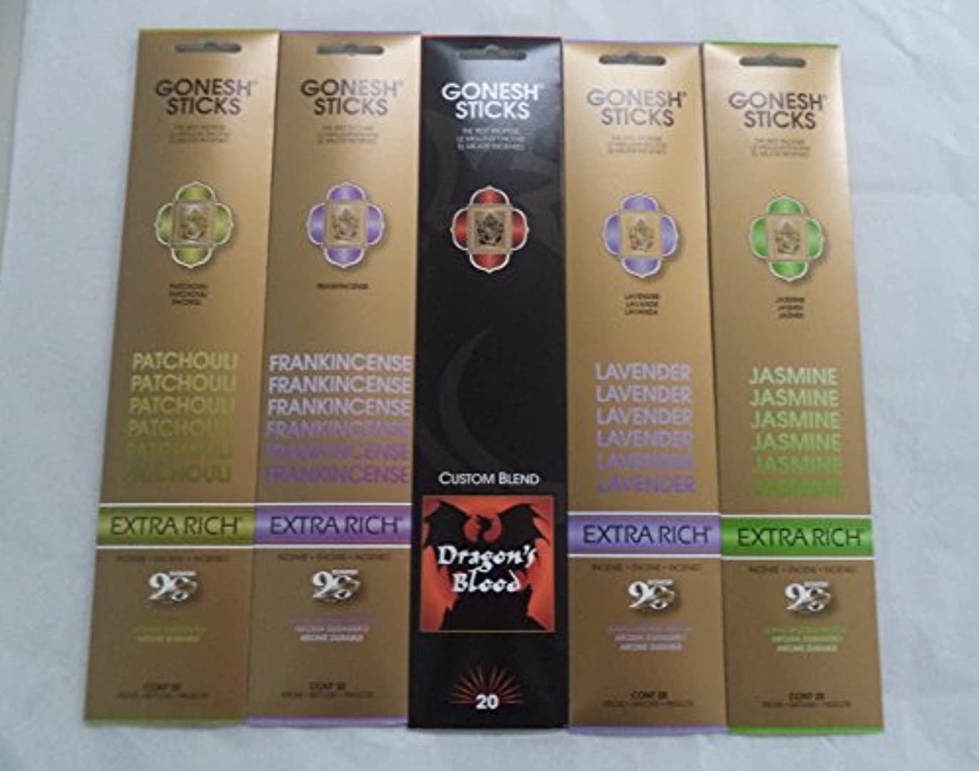 ロードブロッキングドライ対処Gonesh Incense Stick Best SellerコンボVariety Set # 1 5 x 20 = 100 Sticks