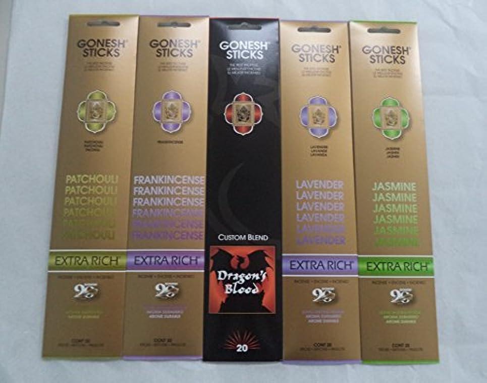 朝食を食べるナビゲーション再編成するGonesh Incense Stick Best SellerコンボVariety Set # 1 5 x 20 = 100 Sticks