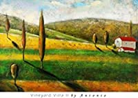 Vineyard Villa II by Antonio 26X 36アートプリントポスターTuscan Landscapeイタリア田舎木VineyardワインレッドホワイトBarn