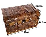 Aoakua 海賊木箱 アンティーク宝箱 大サイズ  (横幅約45cm)