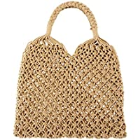 Ayliss Handmade Straw Bag Travel Beach Fishing Net Handbag Shopping Woven Shoulder Bag for Women/Girls