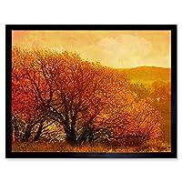 Orange Landscape Autumn Trees Art Print Framed Poster Wall Decor 12X16 Inch オレンジ景観秋木ポスター壁デコ