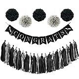 Congrats Class of 2018 Graduation Banner, Graduation Party Supplies 2018 with Congrats Banner, 20 Tassels, 5 Pom Poms Flowers, Black & Silver Graduation Decorations for Class of 2018 (45 pcs) TD013