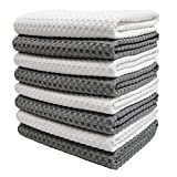 Polyte Ultra Premium Microfiber Kitchen Dish Hand Towel Waffle Weave, 8 Pack (40 x 71 cm, Gray, White)