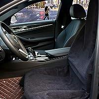 Hiveseen カーシートカバー 防水 防汚 軽/普通車用 フロント 運転席 1枚 吸水タオル 汗対策 汎用 エプロンタイプ ずれにくい ブラック バケットシート