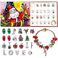 Advent Calendar Bracelet 2020 Christmas Countdown Calendar DIY 24 Days Xmas Charms 2 Bracelets & 22 Charms Beads Jewelry Set for Kids Girls