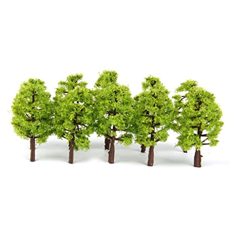 【ノーブランド品】プラスチック製 1/150サイズ 鉄道模型用  モデルツリー  樹木 (ライトグリーン) 20本