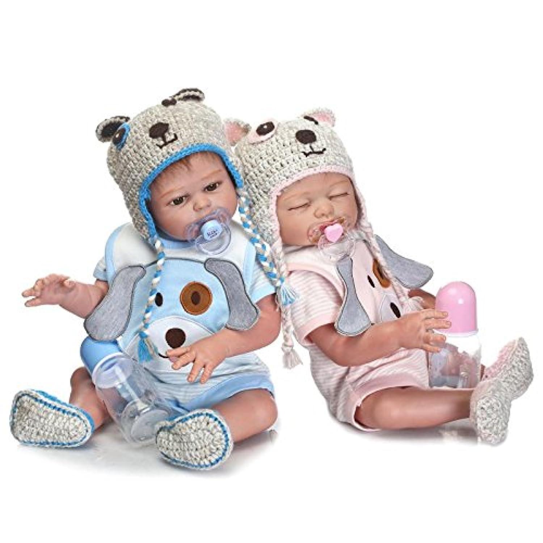 ピンキーのペア50 cm 20インチビニールシリコンフルボディ男の子新生児Lifelike人形Rebornベビー人形Toddlers磁気口ダミー