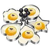5ピースステンレス鋼オムレツモールド/クッキングエッグパンケーキ焦げ防止パンフライパンキッチンレストランケーキモデル-ラウンド/マウス/星/花/ハート形ベーキング器具 JZFUKSP