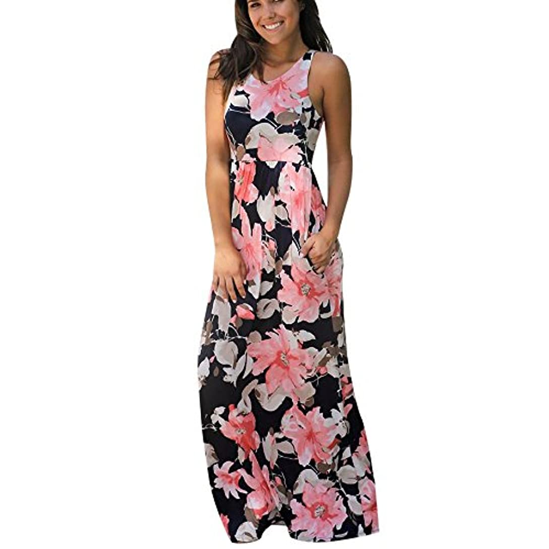 断片馬力事業内容SakuraBest Women Sleeveless Floral Print Maxi Long Dress with Pockets (M, Watermelon)