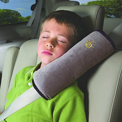 AutoLover® 子供用車用枕 ソフトヘッドレスト 軽量 収納 車中泊 安眠 洗えるカバー カークッション ネックピロー ショルダーパッド 車用シートベルト (グレー)
