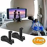 自動車シートフック 携帯電話ホルダー 車後部座席用 車載ホルダー 調節可能 スタンド iPhone/Kyocera/Sharp/Sony等対応 (2個セット) (黒)