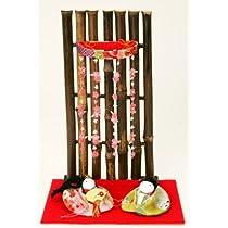 『竹衝立 しだれ桜幸せ雛』 お雛様/雛人形/玄関にも飾れる小型タイプ