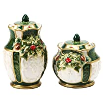 Cosmos GiftsエメラルドHoliday Holly Salt and Pepper Set