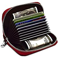 LingLingo RFID Blocking Credit Card Organizer Wallet Genuine Leather Zipper Security Travel Small Money Holder