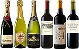 モエ・エ・シャンドンを含む辛口スパークリングワイン&金賞受賞ボルドー赤ワイン 飲み比べ6本セット 750ml×6本 [フランス/スパークリングワイン/辛口/ミディアムボディ/6本]