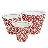 6、8、10号 赤白色花柄深型 3点セット 植木鉢 おしゃれ 陶器 インテリア 室内 3946