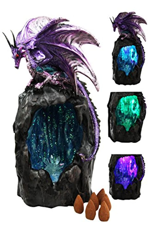輸血眠っているカリキュラムパープルAzurite Quartz Gemstone Dragon登山山Backflow Incense Burner Figurine Faux Stone