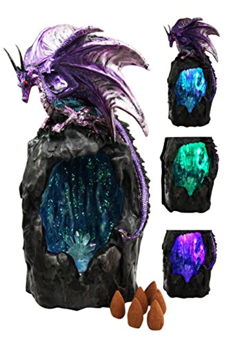 相反する哀れなやがてパープルAzurite Quartz Gemstone Dragon登山山Backflow Incense Burner Figurine Faux Stone