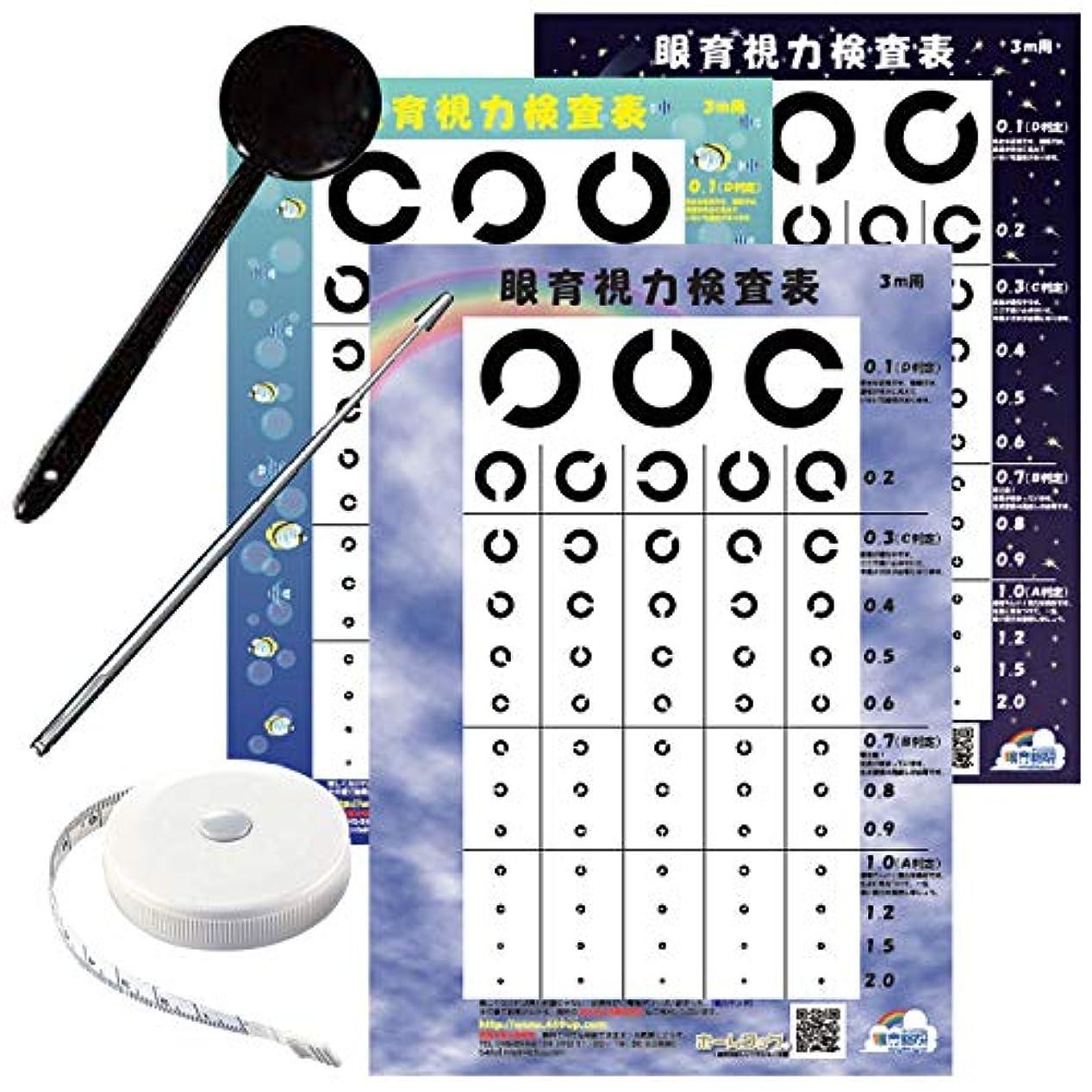 漫画シネウィ多様性視力検査キット 3メートル用 視力表3枚付き