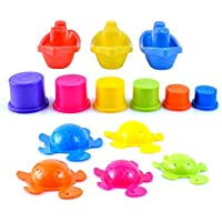 Large Bath Toys Play Set with Stacking Cups, Boats and Turtles by Playlearn
