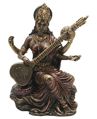 サラスヴァティー弁才天(弁財天)彫像 知識と音楽、芸術の女神/ Saraswati - Hindu Goddess of Knowledge, Music & Art[輸入品