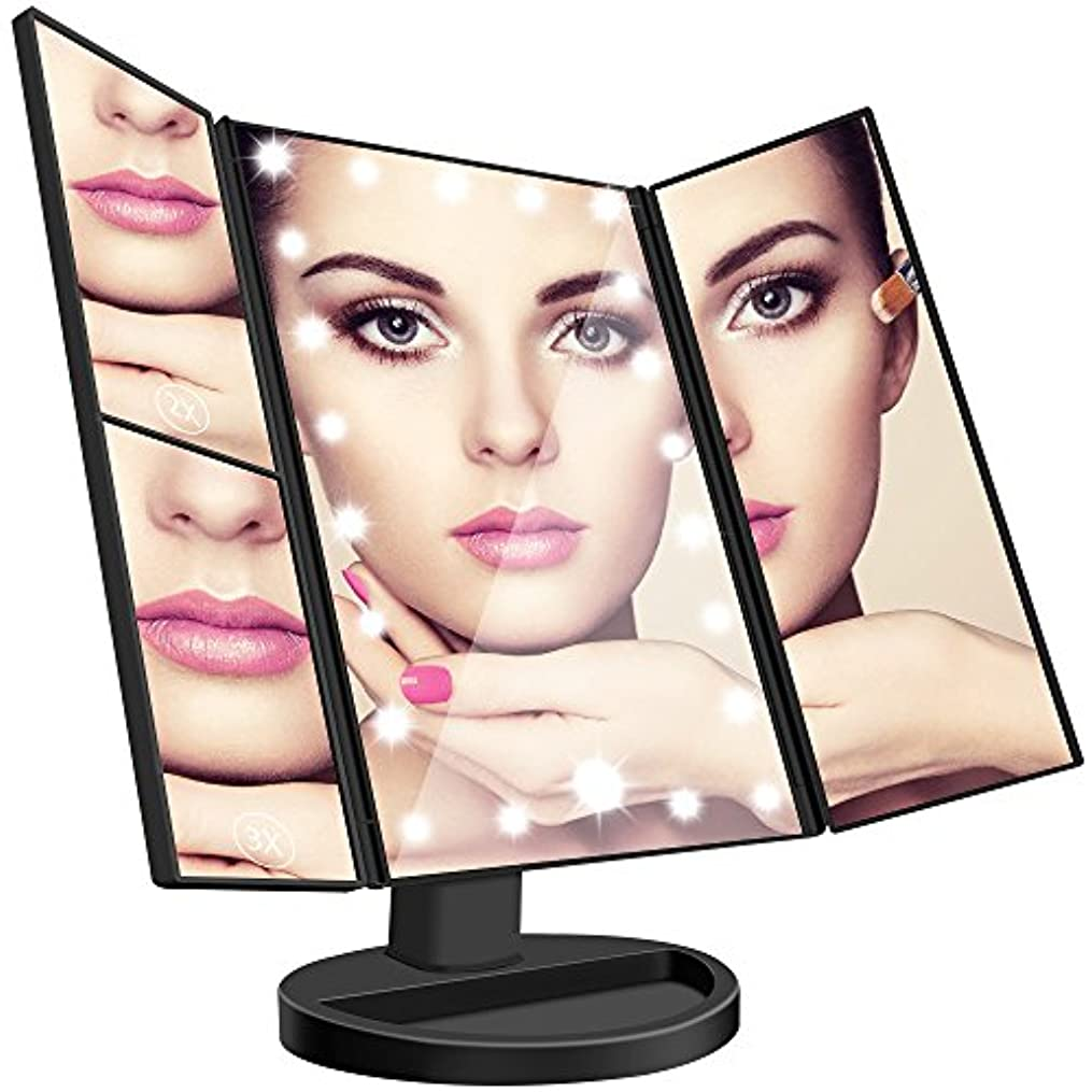連結する備品略語Leeron 化粧鏡 LEDライト 卓上スタンドミラー 折りたたみ式三面鏡 2倍と3倍拡大鏡付き 180°回転 明るさ調整可能
