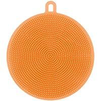 レンコス(Lemcos) 食器洗いブラシ キッチンツール 円形 抗菌性 耐熱 シリカゲル製 (オレンジ)