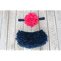 Ruffle Bloomer & Lace Flower Infant Headband Set, Newborn Baby Girl, Navy Blue & Hot Pink by Couture Flower