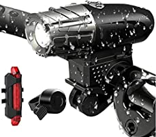 TERSELY USB Rechargeable LED Bike Bicycle Head Front & Back Light Set, [3 in 1] Powerful Lumens Waterproof Front Light,...