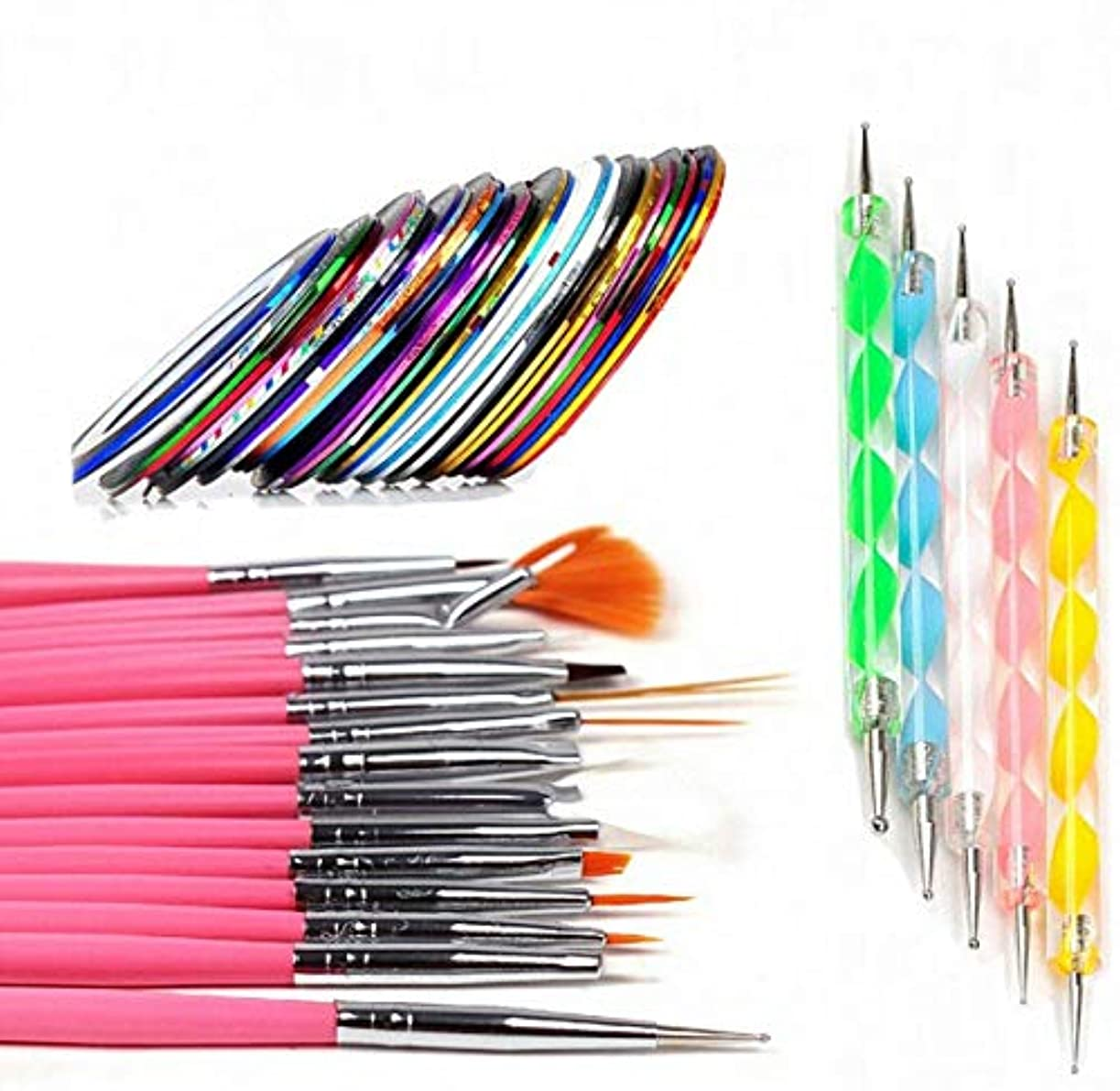 ライター重々しいこれらWellieSTR 55pcs バンドルネイルアートツールキット:15pcsアクリルネイルアートデザインペインティングディテールブラシ+ 35pcs混合色ストリッピングテープ+ 5pcsドットペン(10サイズ)