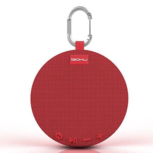 Bluetoothスピーカー、iGOKUブルートゥース4.1スピーカー ワイヤレススピーカー、 5W低音強化アウトドア/スポーツ用スピーカーマイク内蔵、SDカード対応/IPX5防水/USB充電iPhone / iPad / Sony / Nexus / Android各種対応 カラビナ付き 日本語説明書付属 (赤)