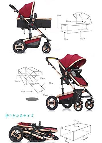 Homehalo ベビーカー両対面 ハイシートベビーカー ベビーベッド ベビーバギー 折りたたみ 4輪機能 通気性良い 買い物かご付き 対象 新生児~36ヶ月 (ブルー)