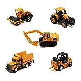 HAPTIME 5Mini Carsおもちゃパックfor Chirldren–Excavator /ダンプトラック/ブルドーザー/ホイールローダー/フォークリフト( 1: 64, Construction Vehicle )
