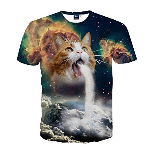 (クラシカルエルフ) Classical Elf Tシャツ 半袖 猫 宇宙 スペースキャット 3D プリント レディース Tシャツ メンズ プリント clas65138