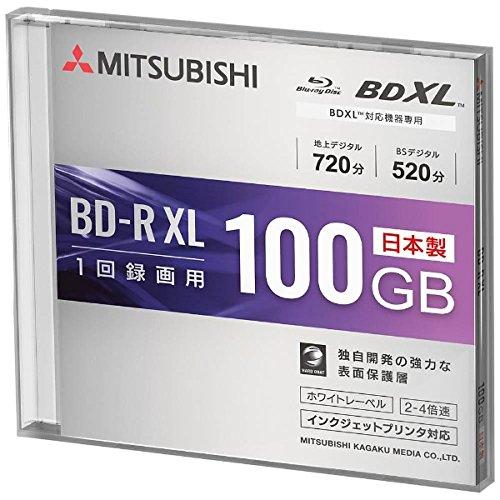 三菱化学メディア 録画用BD-R XL 2-4速 100GB 1枚 スリムケース/インクジェットプリンタ対応  VBR520YP1D1