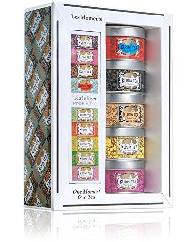 (KUSMI TEA) クスミティー モーメント ティー ミニチュア ギフト セット ウィズ インフューザー (25g×5缶、インフューザー1個付)
