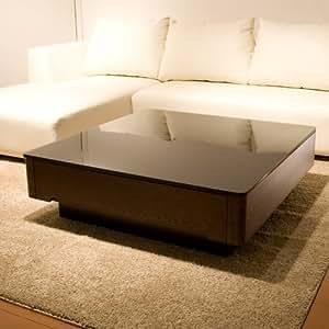 収納付きローテーブル、ブラックガラスとニレ材の木目のインテリアテーブル【Arlyアーリー】