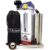 Single Serve, Travel Size, Manual Coffee Grinders   Portable, Stainless Steel Coffee Bean Grinder Set   Hand Crank Coffee and Espresso Grinder with Measuring Spoon and Cleaning Brush   Coffee by Trimm