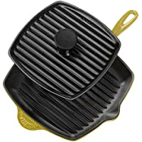Le Creuset Enameled cast-iron Panini Pressスキレットグリルセット、Soleil