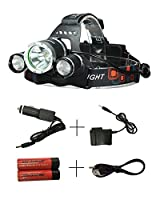 DAN 6000ルーメン LEDヘッドライト CREE XM-L 3*T6 4点灯モード ブーム式 90°調節 IPX4防水 18650電池2本付き 軽量 防災 登山 夜釣り ハイキング キャンプ (銀色)