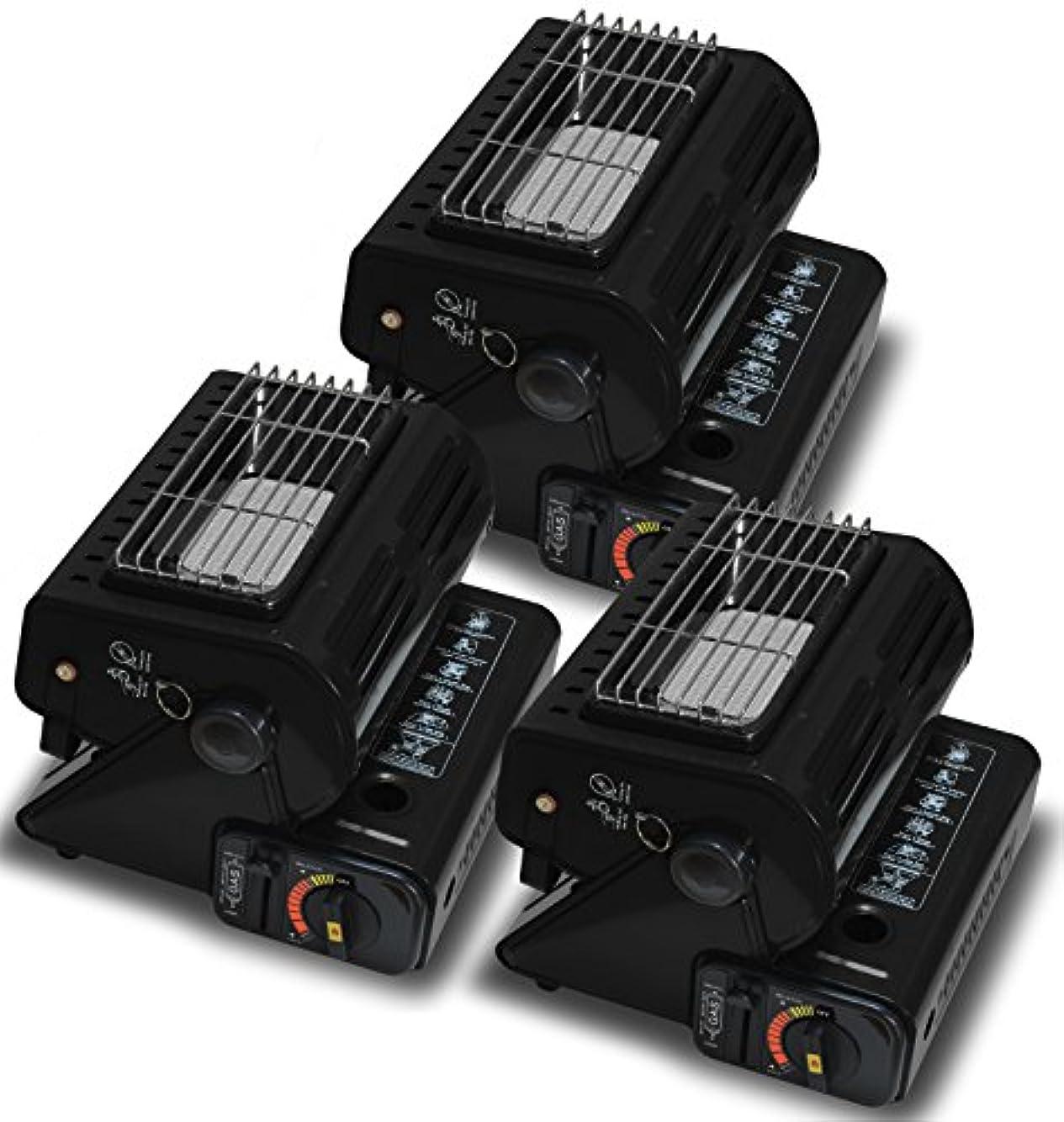 SEIKOH カセットガスストーブ 3個セット A64NBSET3 黒 小型 カセットボンベ式 電源不要 上向き可能