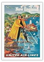 ニューイングランド地方 - ユナイテッドエアラインズ - ビンテージな航空会社のポスター によって作成された ジョセフ・フェーヘル c.1940 - 美しいポスターアート