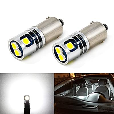Carr Lighting 400LM Super Bright 3030 5-SMD BA9 BA9S 53 57 1895 64111 LED Car Light Bulb 12V 24V 6000K Xenon White