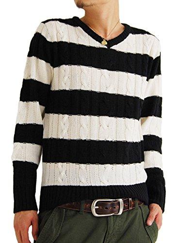 (アーケード) ARCADE メンズ ニット セーター 秋 冬 Vネック ケーブル編み ニットセーター XL ブラック×ホワイトボーダー