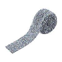 クリスタルラインストーン 1ヤード3センチ ラインストーン リボン ラップ ラッパー 結婚式 装飾 工芸用(シルバーABカラー)