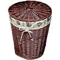 籐のラタンランドリーバスケットコットンリネンライニング汚れたハンパーの服雑貨の保管バスケット (色 : Brown, サイズ さいず : 27 * 36 * 40cm)