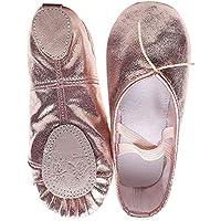 Milisten Ballet Shoes for Toddler Girls Ballet Slippers Cross Elastic Band Pu Leather Little Ballerina Anti Slip Dance Shoes for Kids Children Toddler (Size 23)